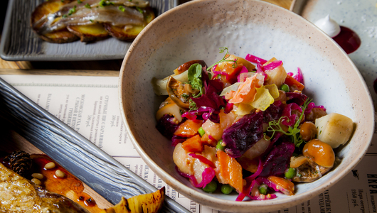 Feed vinegret beetroot salad with russian salted mushrooms